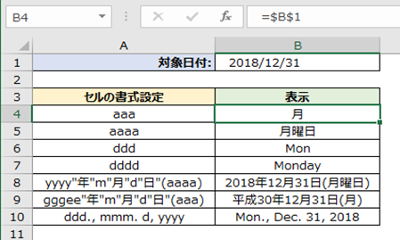 Excel 曜日を表示する方法