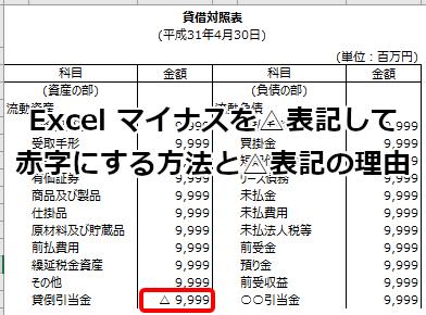 Excel マイナスを△表記して赤字にする方法と△表記の理由 ...