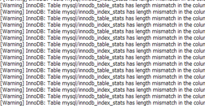 InnoDB: Table mysql/innodb_table_stats has length mismatch in the column name table_name. Please run mysql_upgrade