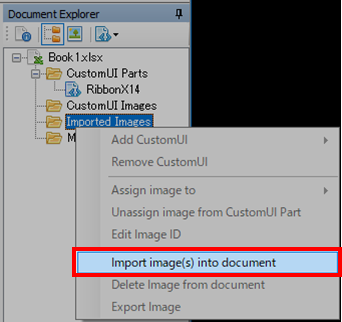 Office Ribbon Editor Import image(s) into documentをクリック