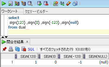 ORACLE 符号を求めるSIGN関数