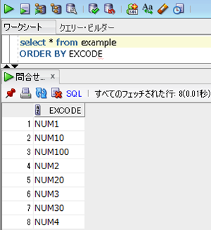 Oracle SQLでORDER BY EXCODEした場合