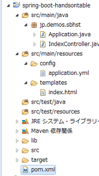 HandsontableとSpring Boot Mavenプロジェクト作成
