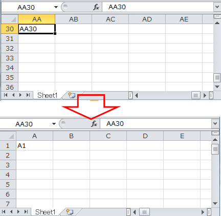 application goto reference r1c1 scroll